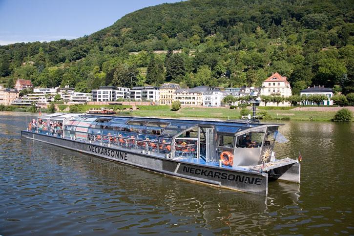 The Neckarsonne for a silent solar powered cruise on the River Neckar by the city of Heidelberg.