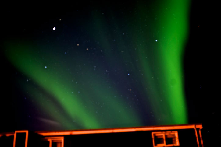 The aurora borealis over the village of Grundarfjorour. These northern lights performed for us for more than 2 hours.
