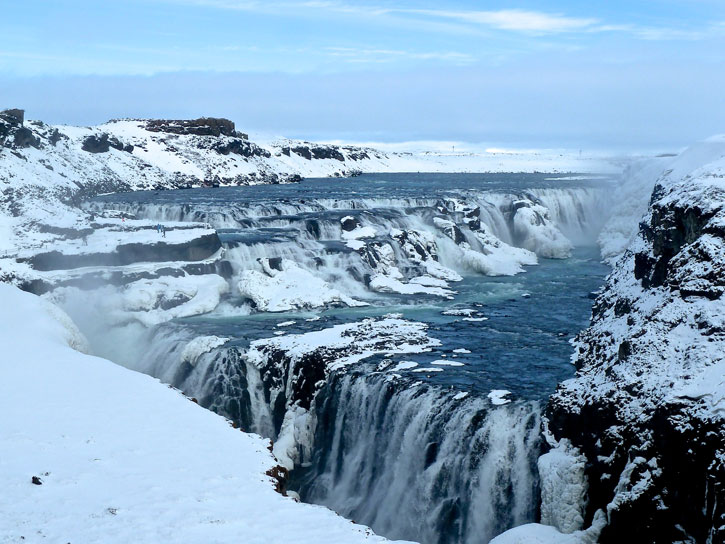 The second stop in The Golden Circle is Gullfoss, a spectacular three-tiered waterfall in the canyon of the Hvita river tumbling 32m into the raging canyon.