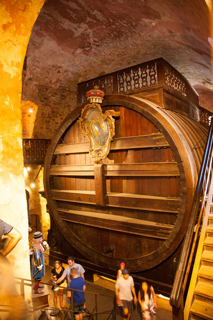 The largest Wine barrel in the world at 7 metres high at the Heidelberg Castle.