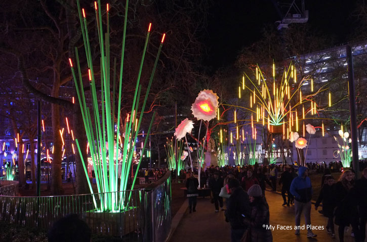 1. Garden of Light – The whole of Leicester Square was bedecked with plants with lights. It was certainly an impressive sight especially with people standing and enjoying the view. Plants taller than the visitors.
