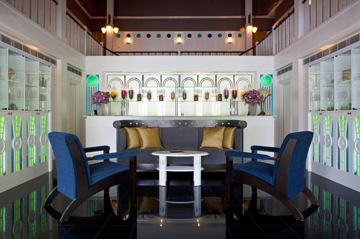 The stylish art deco reception of the Majestic Spa – Courtesy of YTH Hotels