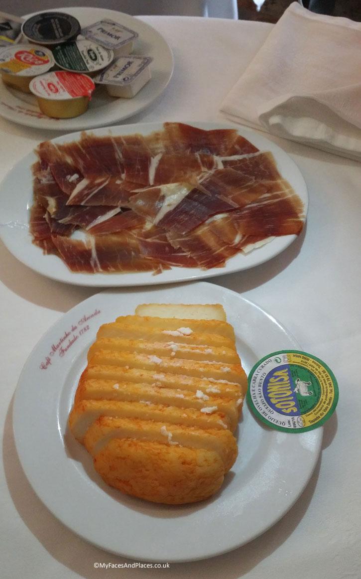 Martinho da Arcada : Pata Negra – cured ham from the black pig and traditional Portuguese cheese.
