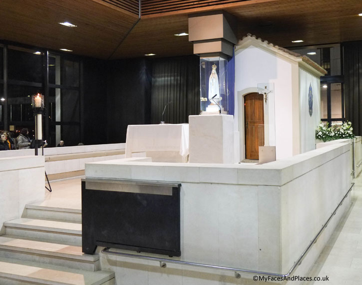 The altar at the Chapel of Apparition where our Lady of Fatima appeared to the shepherds at the Fatima Shrine.