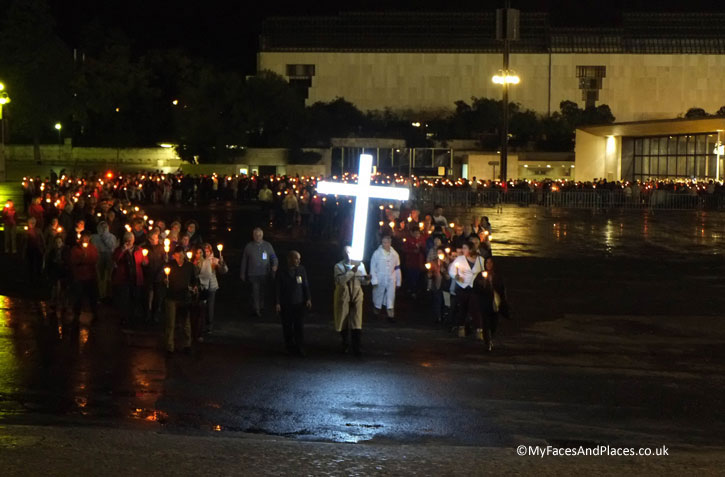 The nightly candlelight procession in the square at the Fatima Shrine.