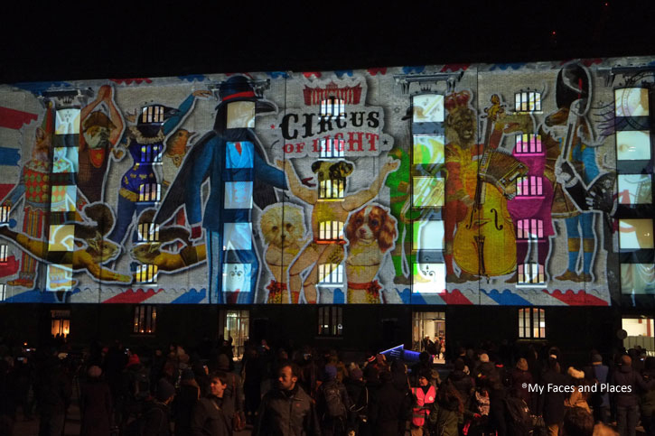 28. Circus of Light - A projection of video images of the Circus of Light on The Granary Building (University of Arts London) in Kings Cross. A full spectrum of circus acts like Jugglers, A Man as a Cannon ball, etc