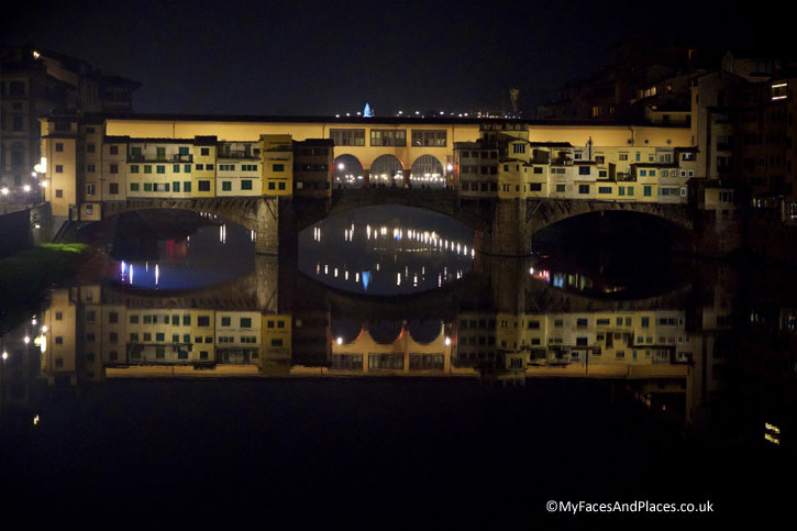 Florence's Ponte Vecchio by Night. It is only one of two bridges in the world with shops built on it.