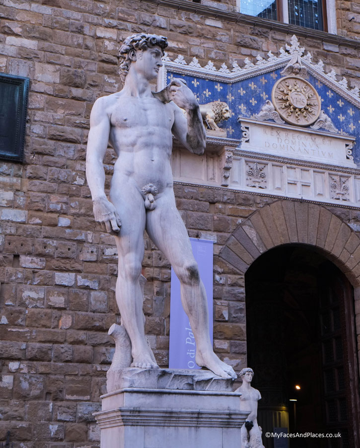 A replica of Michelangelo's David at Piazza della Signora