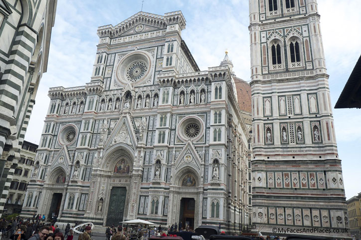 The Façade of the Cathedral of Florence in the Piazza de Duomo