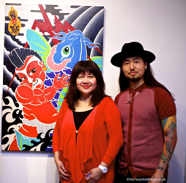"Daisuke ""THE 27 Life"" Sakaguchi with Helen Oon at his art exhibition at the Redfern Gallery in Mayfair"