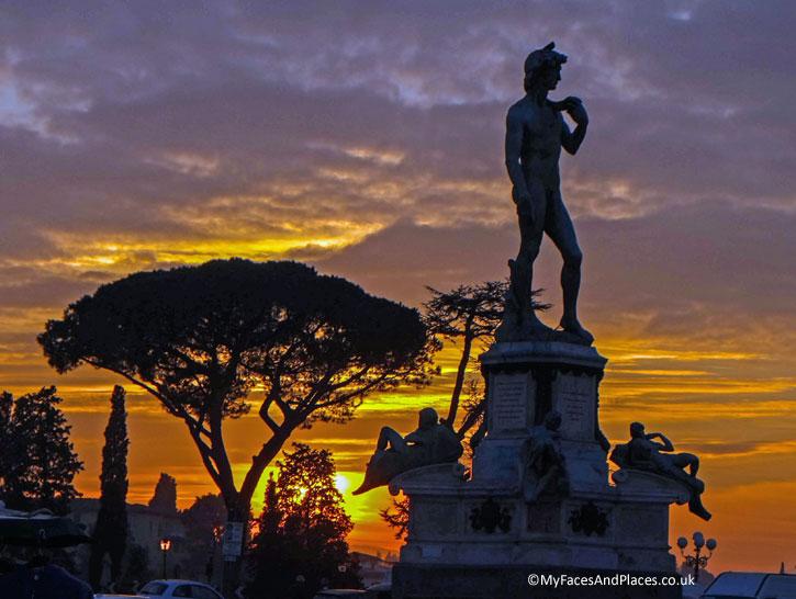 Statue of David at Piazalle Michelangelo at sunset