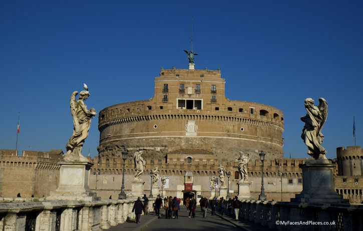 Castle of the Holy Angels the mausoleum of Emperor Hadrian and his families n Rome (Roman Holiday)