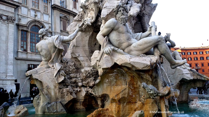 Fountain of the Four Rivers at Piazza Navona in Rome (A Roman Holiday)