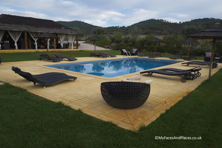 The swimming pool and thatched roof pool house of Agua D'Alte Homestead