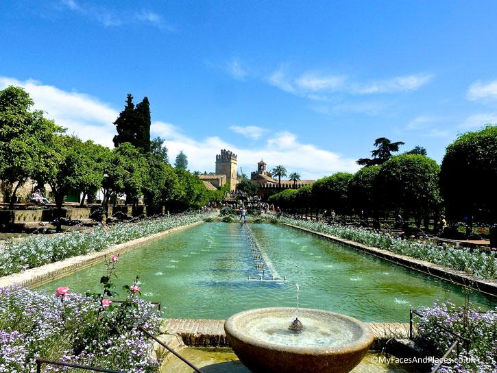 The beautiful garden of the Alcazar of Cordoba