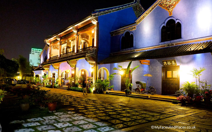 The Blue Mansion in George Town, Penang, at night.