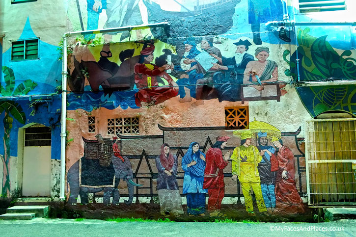 Murals depicting the history of Melaka from the Sultanate to the European rule. This is a close up view from the Melaka River Cruise.