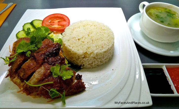 Hainanese Chicken Rice with Roast Chicken at Selesa Restaurant at Grand Plaza Serviced Apartments (http://www.grand-plaza.co.uk/selesa/)