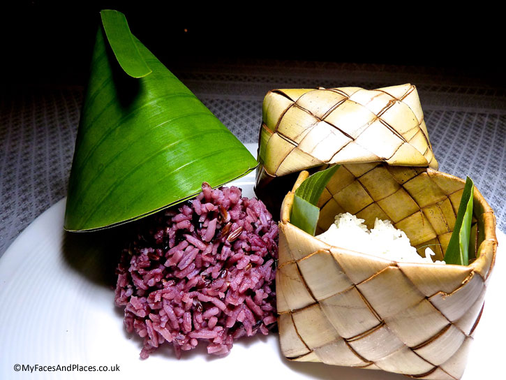 White and red rice traditionally presented in 137 Pillars House