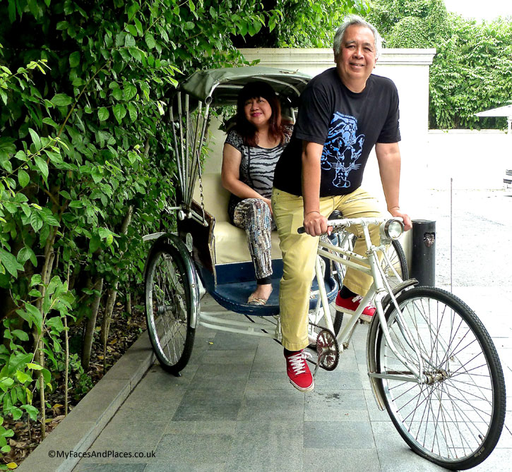 """Helen and Michael on a """"bicycle built for two"""" at 137 Pillars House"""
