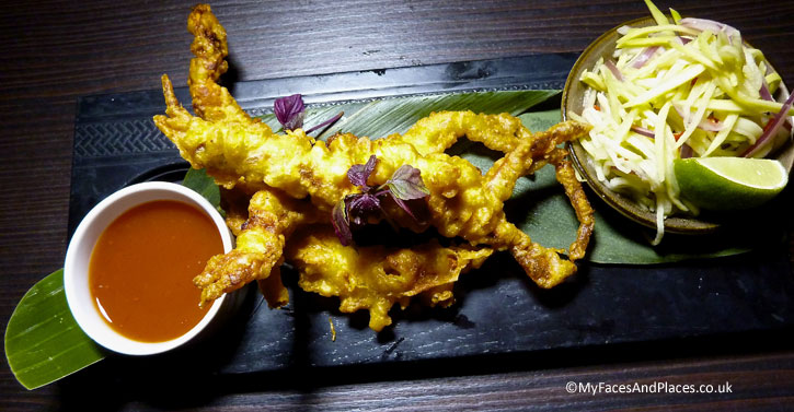 Soft shell crab tempura served with Thai mango salad and sweet chilli sauce - Ladyboys and Mango Tree Restaurant