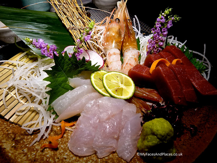 A delicious platter of sashimi made from the freshest of seafood - autumn in Niseko