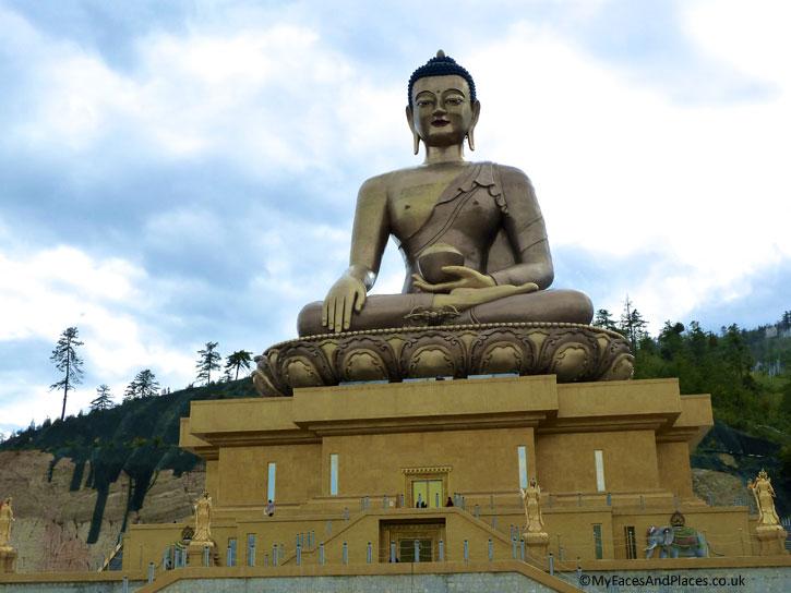 The giant statue of Buddha Dordenma overlooking Thimphu - Bhutan the Beautiful