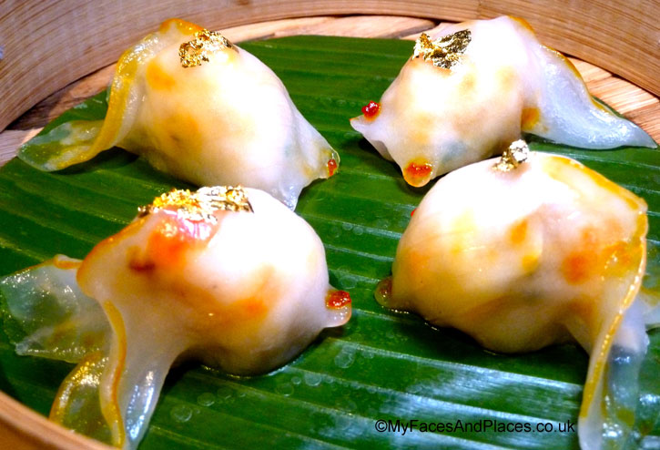 """Abalone and Lobster """"gold fish"""" dumplings with edible gold leaves in Chai Wu @ Harrods."""