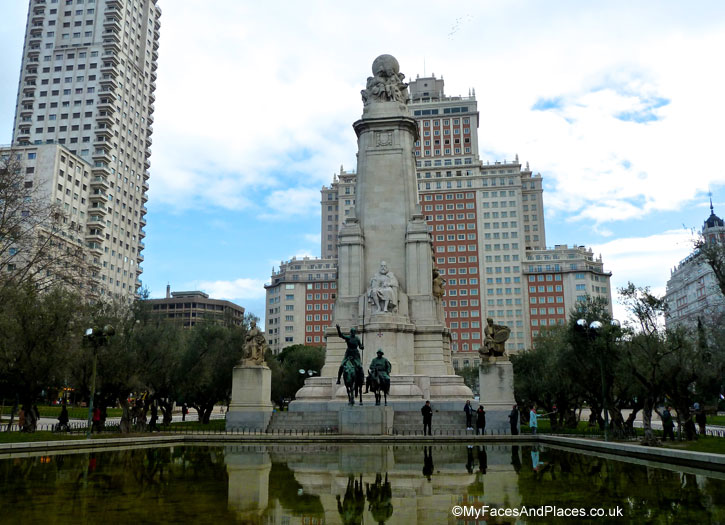 Monument of Miguel de Cervantes Saavedra with statues of Don Quixote and Sancho Panza