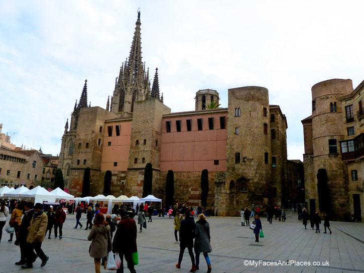 Pla de la Seu the Cathedral Square in Barcelona, Spain