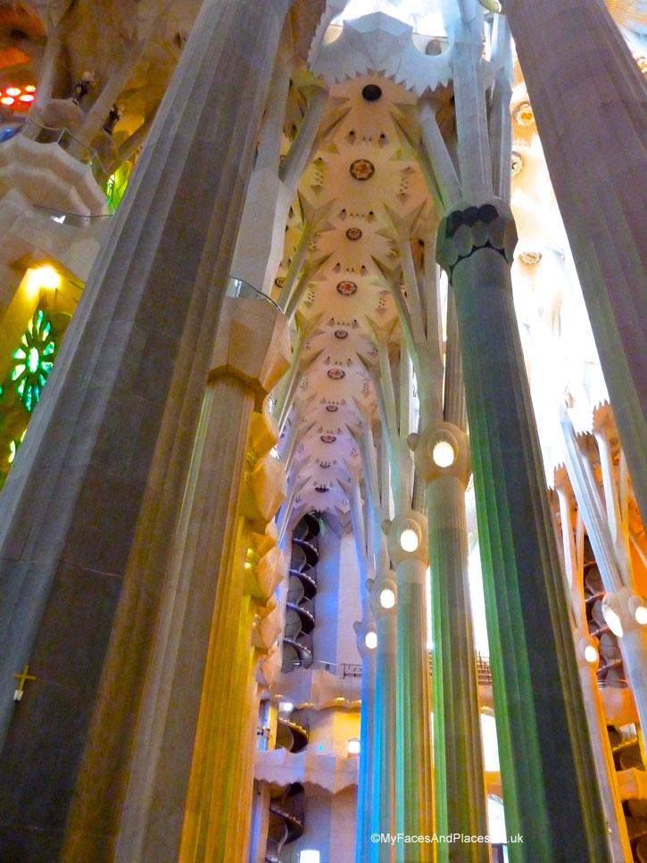 The breath-taking interior of the Sagrada Familia in Barcelona, Spain