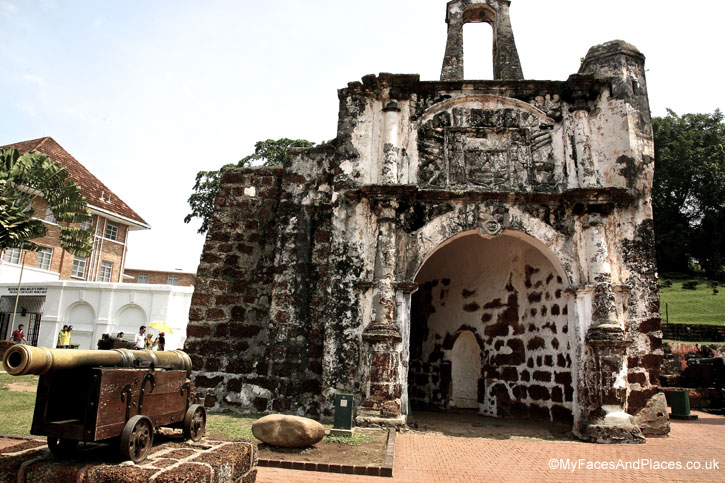 Porta de Santiago the gateway to the ruin Portuguese fort at A Famosa in Malacca