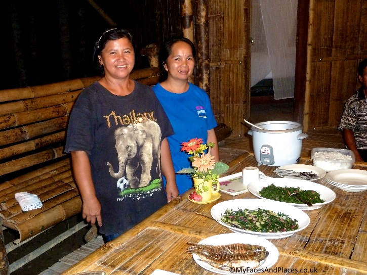 Our wonderful cooks Nuria and Helena serving the best of native food in Sabah