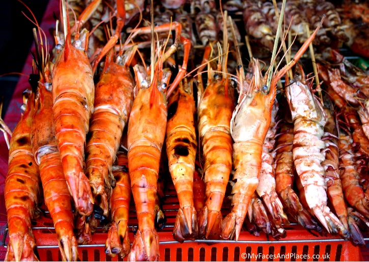 Succulent prawns catch of the day in a market in Sabah