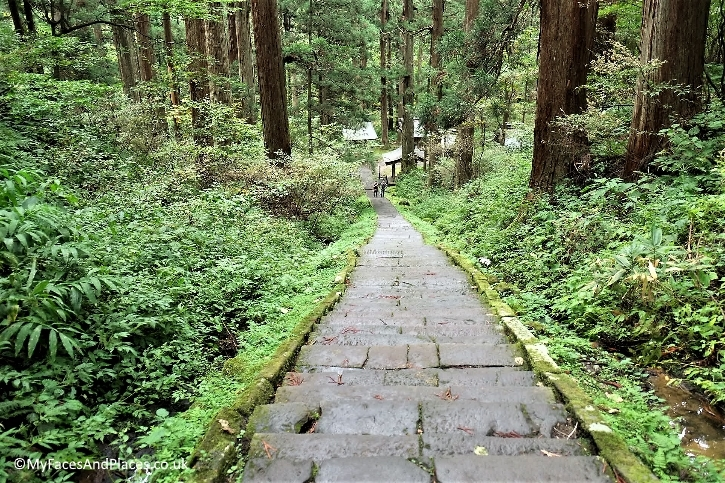 Ishi-Dan the 2,446 ancient stone steps at Mt Haguro leading to Sanjin Gosaiden shrine