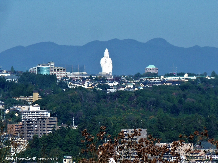 A giant Kannon statue lording over the town of Sendai