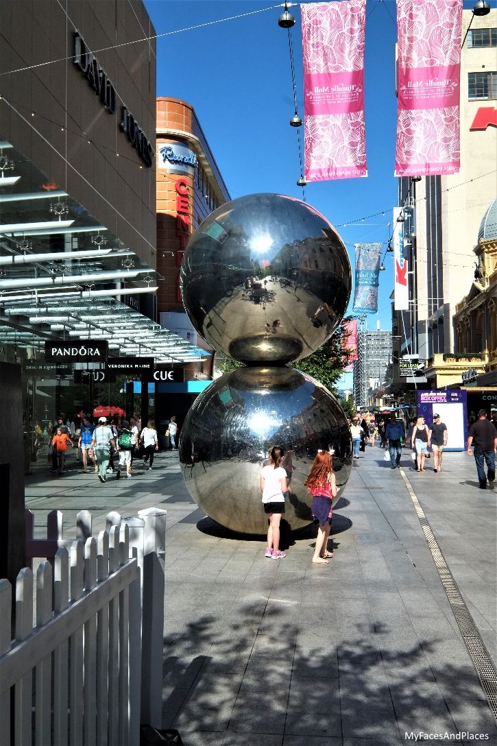 The Spheres sculpture at Rundle Mall