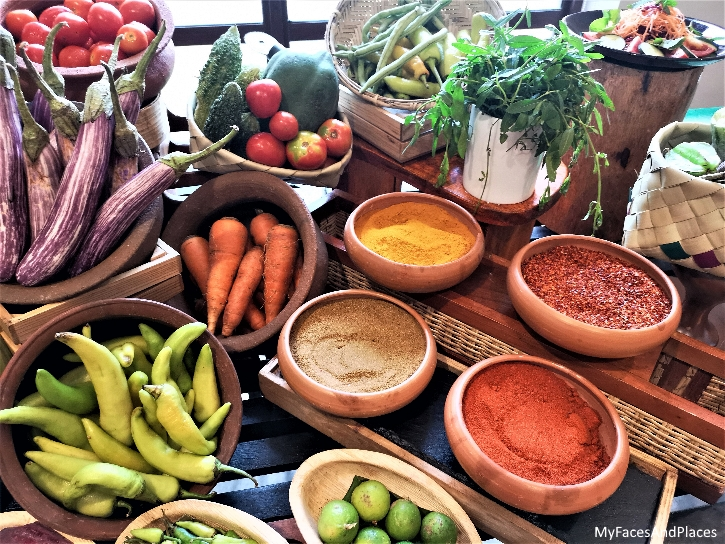 A lavish display of vegetables and spices to whet your appetite.