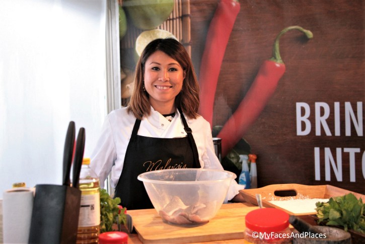 Ping Coombes doing a Malaysian cookery demonstration at the Malaysian Food Festival in London