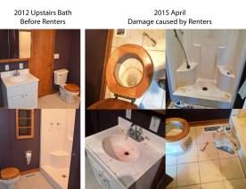 Upstairs bath damage