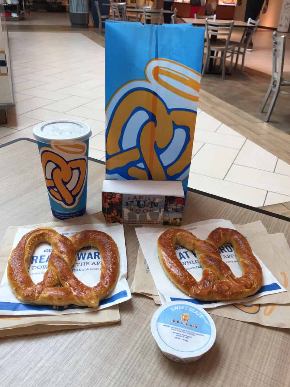 Annie Ann's Pretzel food recived with coupon in The Family Fun Book - Daytona Beach Florida