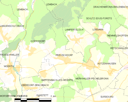 Open source map Alsace, France