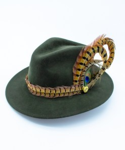 My Fancy Feathers Fedora Hat in Green, with mixed feather feather twirl.