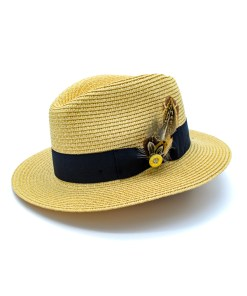 My Fancy Feathers Summer Fedora Hat in Natural with Hat Pin