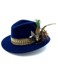 My Fancy Feathers Fedora Hat in Blue, with Pheasant Feather Twirl
