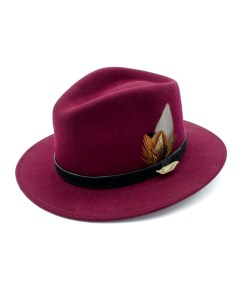Wine coloured Fedora Hat with Gamebird Feathers and golden pin badge.