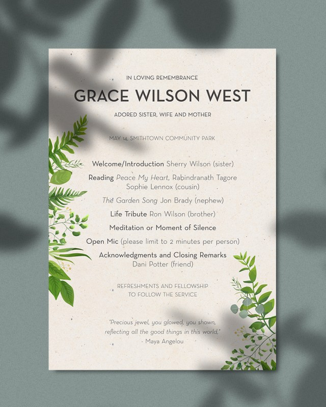 Funeral Program Examples: How to Make a Funeral Program