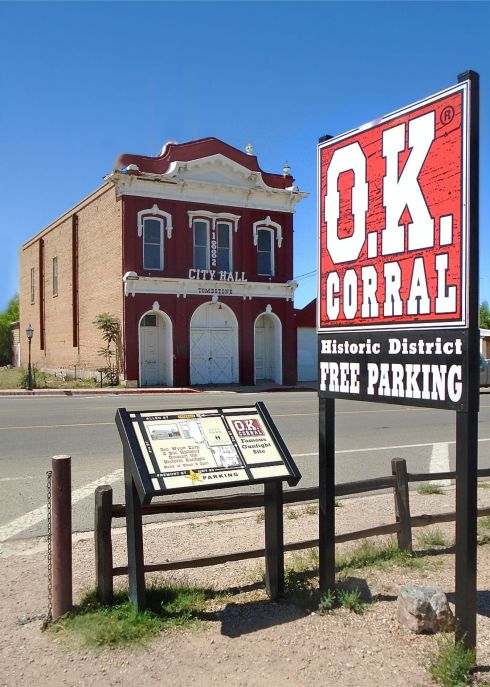 Tombstone city hall and sign