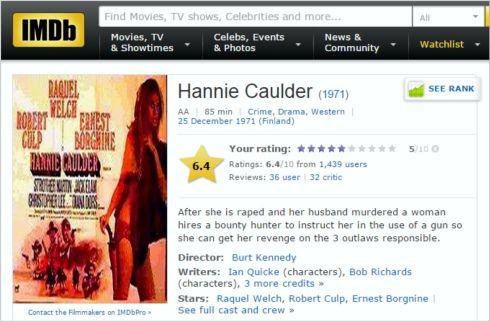 Hannie Caulder IMDB Review