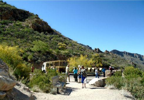 Sabino Canyon Tram at the top